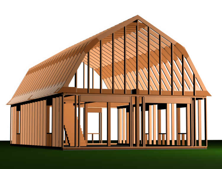 24 x 24 pole building rafter roof loft joy studio design for 24x40 garage plans